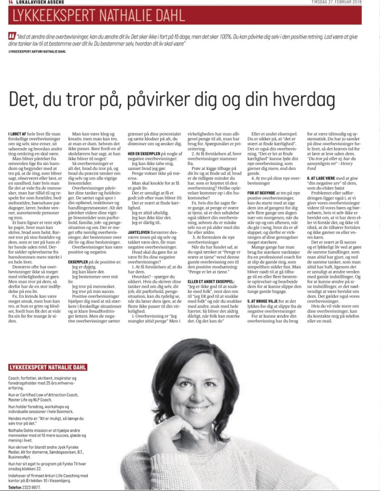 Overbevisninger Lykkeekspert Anturi Nathalie Dahl LokalAvisenAssens